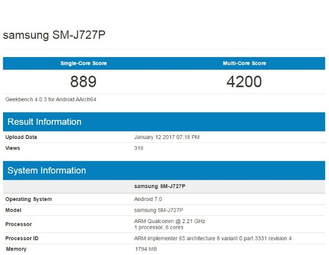 galaxy j1 geekbench